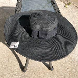 Black Floppy Hat Bow Sun Beach